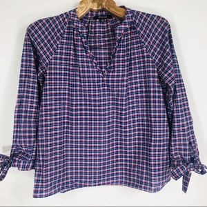 Madewell Red Blue Plaid Blouse XS